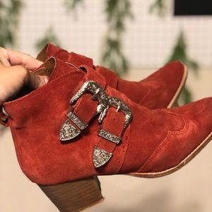 Red suede booties from topshop